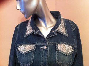 Denim Jacket Swarovski Crystals pocket flaps and collar